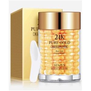 Крем для глаз с частицами золота и гиалуроновой кислотой VENZEN Pure Gold 24K, 30 г. Восстанавливающий