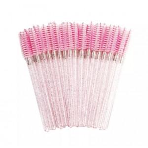 Щеточка - ершик для бровей и ресниц  Розовая 50 шт.