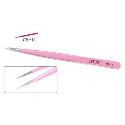 Пинцет VETUS прямой розовый CS-11