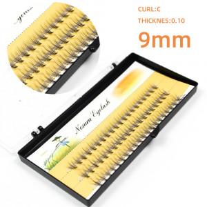 Ресницы пучковые безузелковые NESURA Eyelash 10D, длина 9 мм, изгиб C