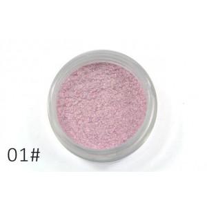 Слюда для макияжа глаз и тела Alpha белая с розовым блеском №01