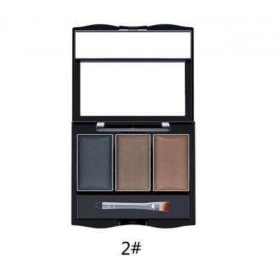 Тени для бровей 3 цвета LIDEAL Shiny Eyebrow №2
