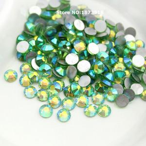 Стразы для декора цвет Peridot AB размер 1,5-1,6 мм  SS4 100 шт.