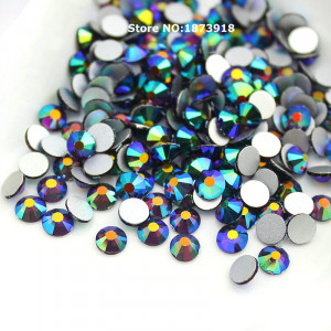 Стразы для декора цвет Jet Black AB размер 1,3-1,4 мм  SS3 100 шт.