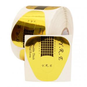 Формы для наращивания ногтей широкие YRE золото 500 шт.