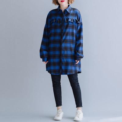 Рубашка-туника теплая с длинный рукавом, цвет темно-синий