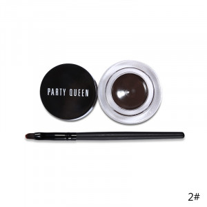 Подводка для глаз гелевая и кисть PARTY QUEEN Glamour Eyes #02 Brown